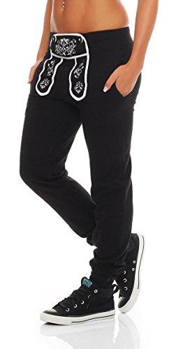 Hoppe Gennadi Damen Sporthose Pant im Trachtenlook (L, schwarz)