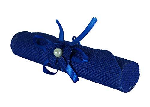 Takestop® set 6 pezzi bomboniera bomboniere pergamena juta blu fiore porta invito portaconfetti porta confetti festa nascita compleanno promessa