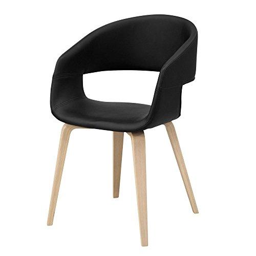 lounge-zone 12532 Lot de 2 chaises Design Nova en Bois de chêne Massif avec Housse Naturelle Noir