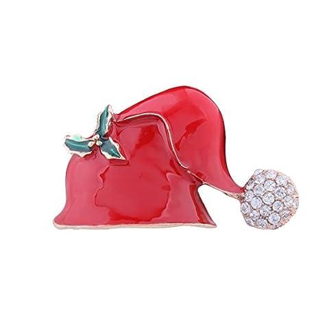 YAZILIND Bijoux mode Femmes Accessoires Chapeau de Noël Broche en alliage de strass pour cadeaux de Noël