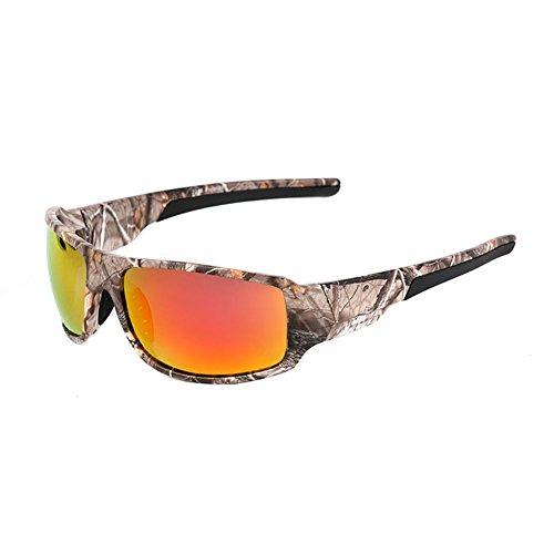 GAOJUAN Tarnung Polarisierte Sonnenbrille Für Männer Full Wide Arm Sport Frame Brillen Angeln Golf Goggles [Blendschutz] [UV-Schutz] Fahren/Angeln,Red