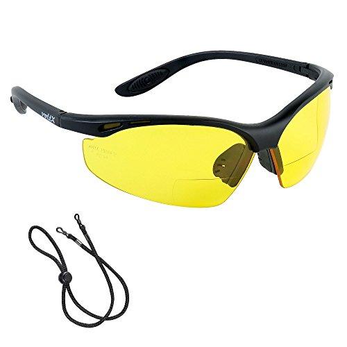 voltX 'CONSTRUCTOR' BIFOKALE Schutzbrille mit Lesehilfe CE EN166F zertifiziert/Sportbrille für Radler (GELB +2.0 Dioptrie) enthält Sicherheitsband – Bifocal Safety Glasses