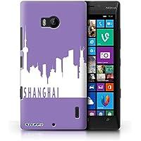 Custodia/Cover Rigide/Prottetiva STUFF4 stampata con il disegno Skyline della città per Nokia Lumia Icon - Shanghai/viola