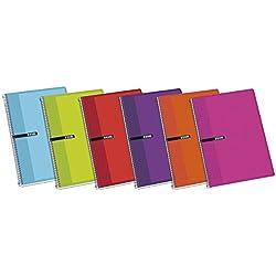 Enri 100430068 - Pack de 5 cuadernos espiral, tapa dura, Fº
