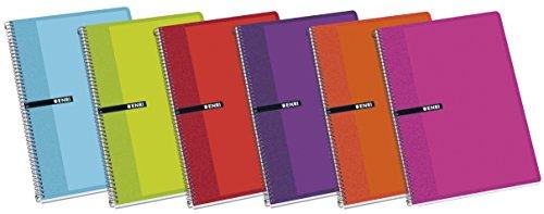 Enri 100430081 - Pack de 5 cuadernos espiral, tapa dura, 4º
