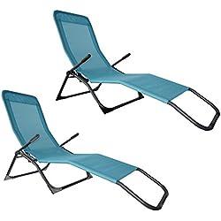 Jalano Bäderliege Pool Kippliege 2er Set Relaxliege Gartenliege, Farbe:Türkis