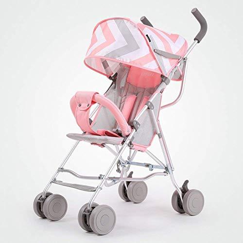 Carriage Kinderwagen, Ultra Light/Portable / Kann sitzen Liegende/Folding / Mini Kind Taschenschirm, Kinderwagen,PINK-Fen