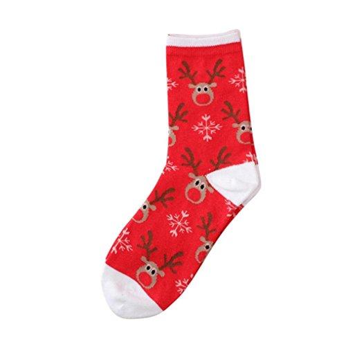 TWIFER Frauen Männer Weihnachtssocken Bequeme Streifen Baumwollsocke Kurze Söckchen (A, Freie Größe)