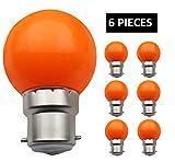 JCKing (Packung mit 6) B22d Golfball Biergartenbeleuchtung Lampen Farbiges Glühbirnen für Terrasse Party Weihnachten - Orange