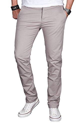 A. Salvarini Herren Designer Chino Stretch Stoff Hose Chinohose Regular Slim mit Elasthananteil AS024 [AS024 - Hellgrau - W33 L34]