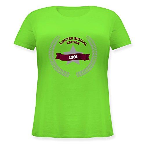 Geburtstag - 1981 Limited Special Edition - Lockeres Damen-Shirt in großen Größen mit Rundhalsausschnitt Hellgrün