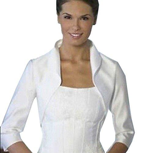 Preisvergleich Produktbild Janecrafts Brautjacke Hochzeitsjacke Satin Bolero Jacke