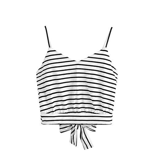 TUDUZ Damen Sommer Armellose Bauchfreie Tank Tops V-Ausschnitt Blumendruck Cami Top Camisole Bluse Oberteile (S,Weiß)