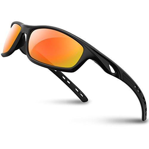 RIVBOS Polarisierte Sport Sonnenbrille Driving Sun Brille Shades für Männer Frauen TR 90unzerbrechlich Rahmen für Radfahren Baseball Laufen rb833 M 833-black Rainbow Lens