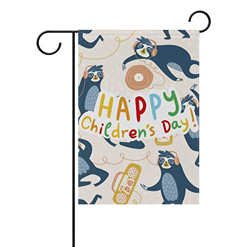 Buyxbn Gartenflagge Happy Kinder Tag Faultier Musik Zoll doppelseitig Haus Hof Rasen Terrasse Outdoor Saisonale Dekoration, Polyester, Color-1, 12