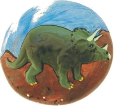 Bouton de meuble placard motif dinosaure tricératops -