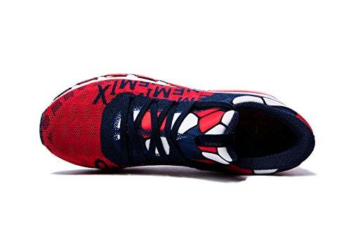 Onemix Herren Mid-Top Air Luftkissen Laufschuhe Turnschuhe Straßenlaufschuhe Sneaker Sportschuhe Rot Blau