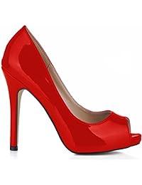 UOMOGO? Scarpe da Donna-Sandali Tacco Alto a Spillo-Nuziale-Sposa-Eleganti-Moda-Partito-Cinturino alla Caviglia-Piattaforma 11 cm (Asia 38, Nero)