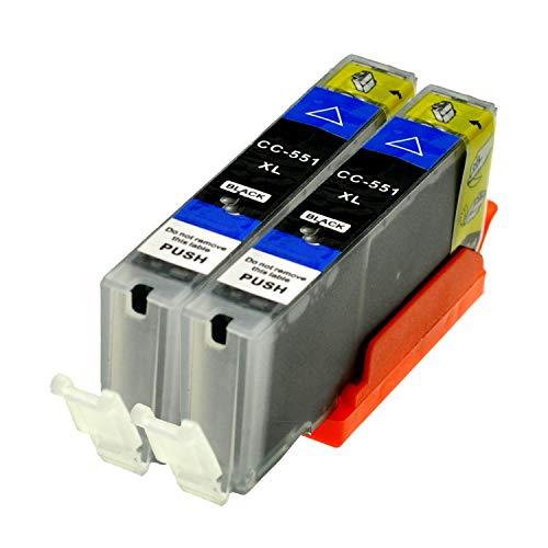2 Logic-Seek® Druckerpatronen CLI551BK MIT CHIP und Füllstandanzeige für Canon Pixma iP7250, MG5450, MG6350, MX725, MX925, kompatibel zu CLI-551BK