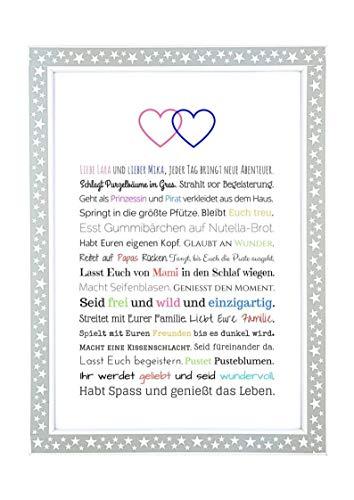 Geschenk Geburt Zwillinge - Personalisiertes Bild mit Rahmen für Babies und Neugeborene - Geschenkidee z.B. als Gastgeschenk zur Geburt - Variante für Junge + Mädchen, Kunstdruck, DIN A4