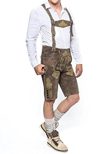 Herren Trachten Lederhose Kurz, Trachtenlederhose mit Trägern,Vintage Line, Smoke-Gelb, Gr. 44-58 (52)