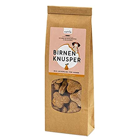naftie Bio Leckerlies Birnen Knusper Hundekekse   nur für artige Hunde   vegane Hundeleckerli mit Dinkelvollkornmehl…