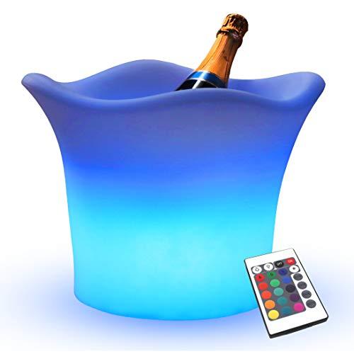 PK Green Erstklassiger LED Eiskühler | Eiskübel Eiswürfelbehälter mit Farbwechsel, Fernbedienung | Eiseimer Flaschenkühler RGB Akku | Kühler Champagner, Flaschen | Tischlampe Wasserdicht Außen Garten