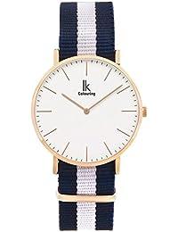 Alienwork Quarz Armbanduhr elegant Quarzuhr Uhr modisch Zeitloses Design klassisch Nylon rose gold blau U04819G-02