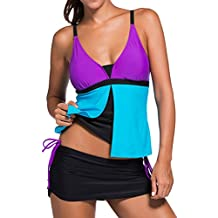 OLIPHEE Damen Two Pieces Push Up Tankini mit Skort Swimsuit Flacher Bauch Umstandsbadeanzug