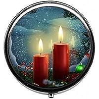 LinJxLee Christmas Candles Round Pill Case Pill Box Tablet Vitamin Organizer Easy to Carry preisvergleich bei billige-tabletten.eu