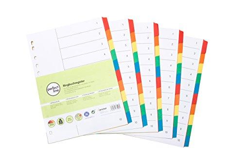 perfect line 5er Pack 10-teiliges DIN-A4 Register farbig (5x10), mit Deckblatt, Farb-Register-Trenner aus Karton in 5 Farben, 160g/m², perfekte Trennblätter für die Ordner-Organisation im Büro