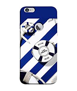 PrintVisa Designer Back Case Cover for Apple iPhone 6 (Logo View Window Case) (beautiful navy blue white sea ocean)
