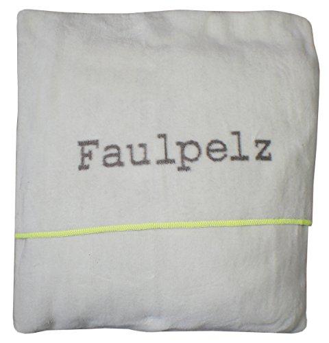 """David Fussenegger 77826055 Verona Kissenhülle """"Faulpelz"""", Baumwoll-Mischgewebe, weiß/schlamm, 50 x 50 cm"""