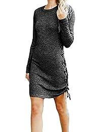 YunYoud Frauen Fashion Solid Langarm O-Neck Verbandkleider weißer Langer  Rock cordrock Schwarz Kurz tüllrock 91709dc183