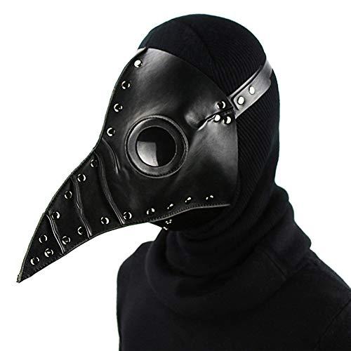LUCKME Pest Doctor Mask, Steampunk Long Nose Bird Maske Gothic Retro Rock Prop für Masquerade Cosplay Halloween Kostüm-Party,Black