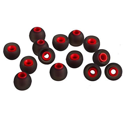 XCESSOR (M) 7 Paires (14 pièces) D'écouteurs de Rechange en Silicone pour Écouteurs Intra-Auriculaires de Taille Moyenne Embouts de Rechange pour Écouteurs Intra-Auriculaires Populaires. Noir/Rouge