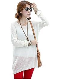 Dayiss® Damen V-Ausschnitt Feinstrickpullover Mantel mit Fledermausärmeln one Size in Weiß