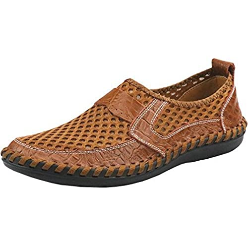 Besporter Mens Breathable Slip-on Mesh Shoes Casual Quick Drying Shoes(Brown  45) 10.5 UK