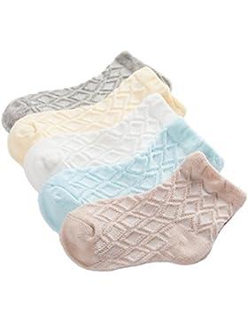 Bunt Socke Baumwolle für Baby Kinder 5 in 1 Set Jugendliche Jungen Mädchen Netzsocken Dünn Elastisch Weich Stricksocken