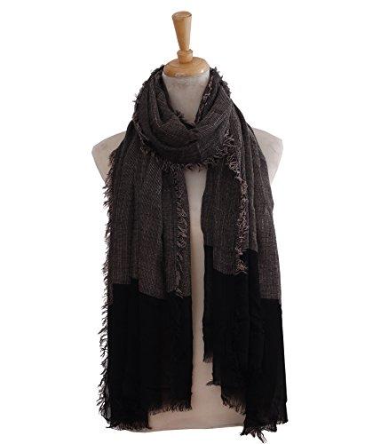 Heyjewels Cadeau Maman Foulard essentiel en coton toile 200 x 100cm Noir