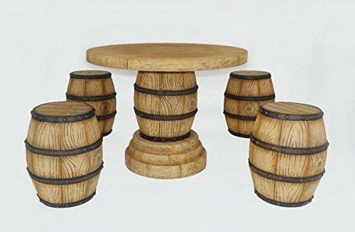 Table Set de 4 Vin fasshoc Cur et vin tonneau Table lebensgroß 69 cm pour l'extérieur en fibre de verre haute qualité plastique (GFK)