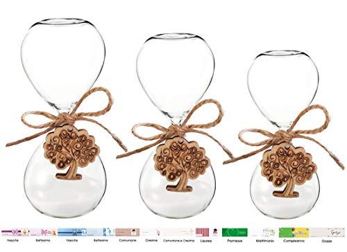 Irpot 10 clessidra in vetro varie misure + 10 decorazioni in legno + juta + bigliettini (grandi 1172010, albero della vita)