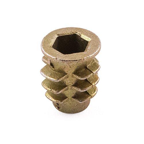 Typ D Gewinde Holz Einsatz Muttern, Zink gelb, M4x 10, 100Stück