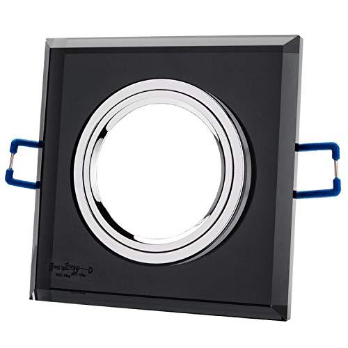 Einbaustrahler aus Glas/Spiegel/Schwarz CRISTAL Inkl. 10 X CRISTAL (Schwarz) Eckig IP20 Deckenstrahler Einbauleuchte Deckeneinbauleuchte Deckenspot, 10x Fassung GU10 - ohne Leuchtmittel