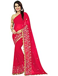 High Glitz Fashion Women's Pink Color Paper Mirror With Four Side Heavy Jhalar Border Georgette Sari With Blouse Piece