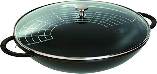 Staub 40509-398-0 Wok mit Glasdeckel 37 cm, schwarz