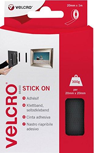 VELCRO Brand Nastro Riapribile Adesivo Nero 20 mm x 1 m