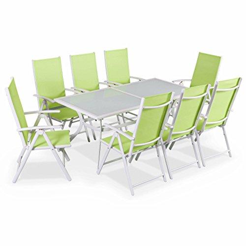 Alice's Garden Salon de jardin en aluminium et textilène - Naevia - Blanc, Vert Pomme - 8 places - 1 grande table rectangulaire, 8 fauteuils pliables