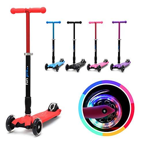 fun pro Two - ab etwa 5 Jahre, bis 80KG Gewicht, der sichere Premium Kinder Roller, LED Räder, faltbar, (Kickboard, Tretroller), TÜV geprüft (Rot)