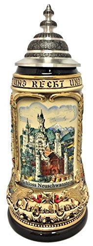 Pinnacle Rustic Neuschwanstein Castle with German Cities LE German Beer Stein 1 L -